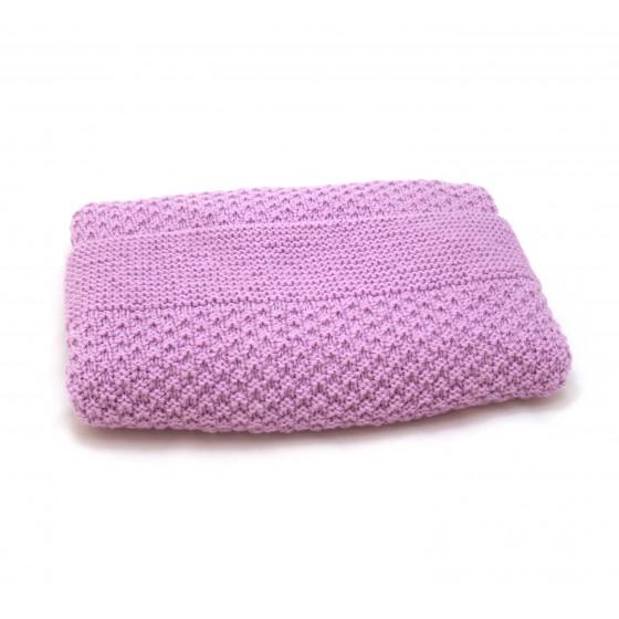 Couverture bébé laine parme