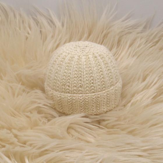 Bonnet rond bébé écru laine naturelle