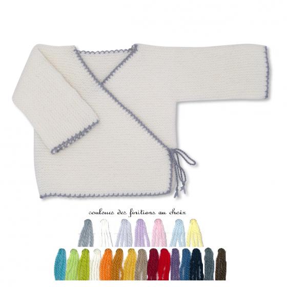 Brassière bébé laine blanc souris
