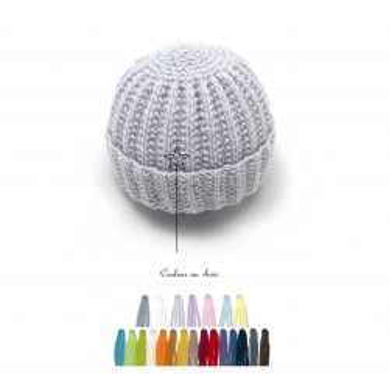 Bonnet rond bébé laine couleur au choix