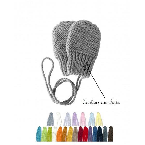 Moufles bébé laine couleur au choix