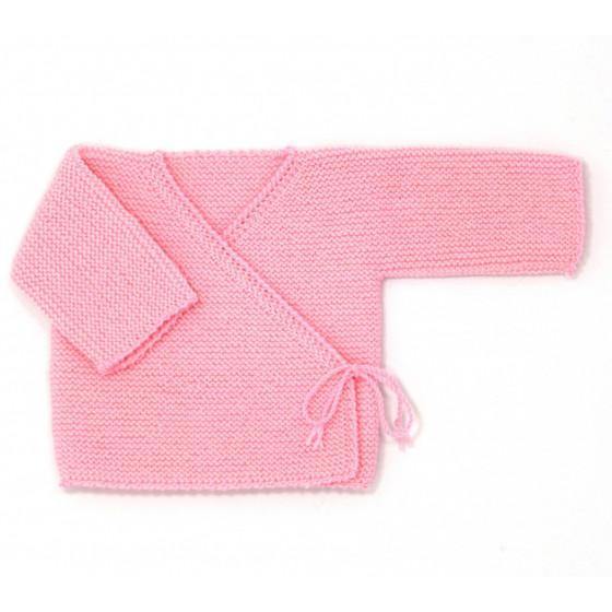 Brassière cache-coeur bébé laine rose