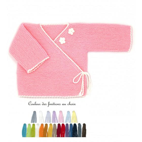 Brassière bébé laine rose brodée