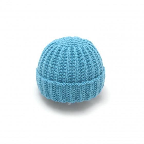 Bonnet rond bébé laine turquoise