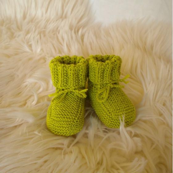 Chaussons bébé gris laine mérinos
