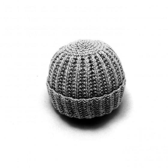 Bonnet rond bébé laine gris souris