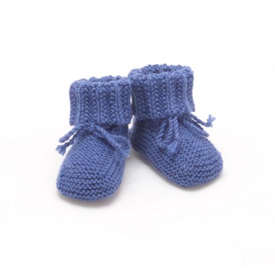 Chaussons bébé indigo laine mérinos