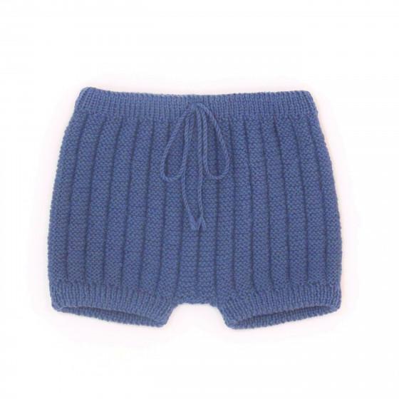 Culotte courte laine indigo