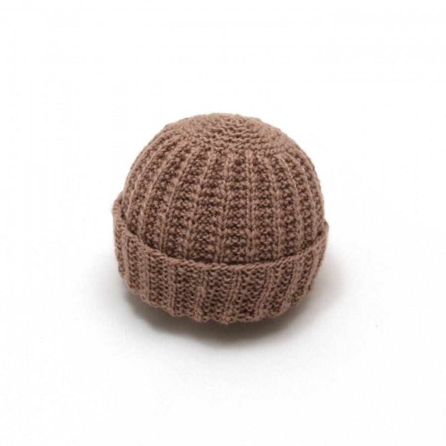 Bonnet rond bébé laine taupe