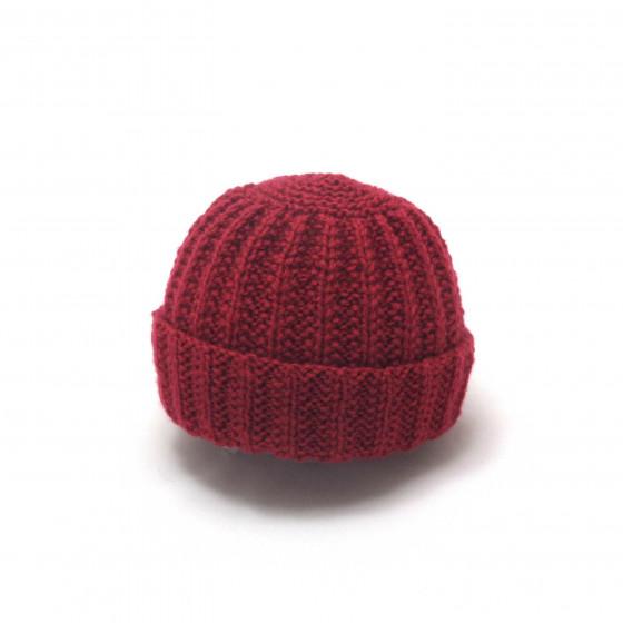 Bonnet rond bébé laine rouge basque
