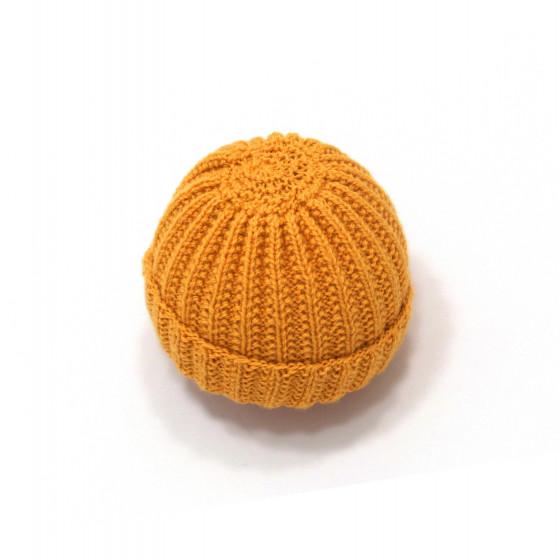 Bonnet rond bébé laine moutarde