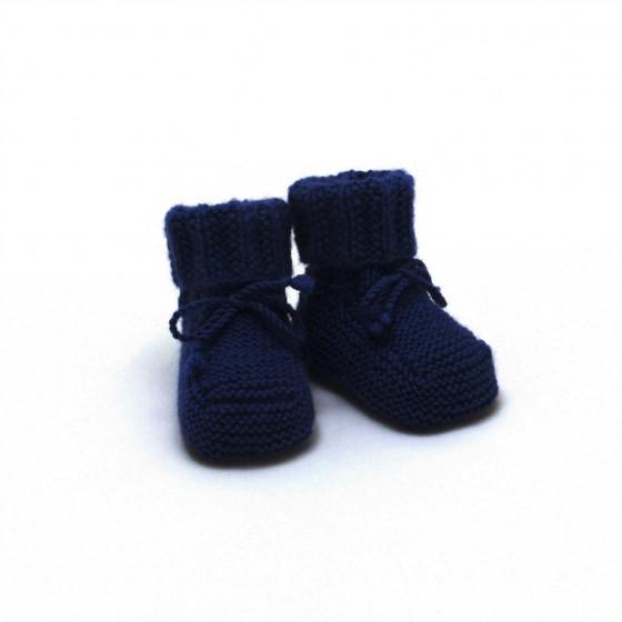 Chaussons bleu marine laine mérinos