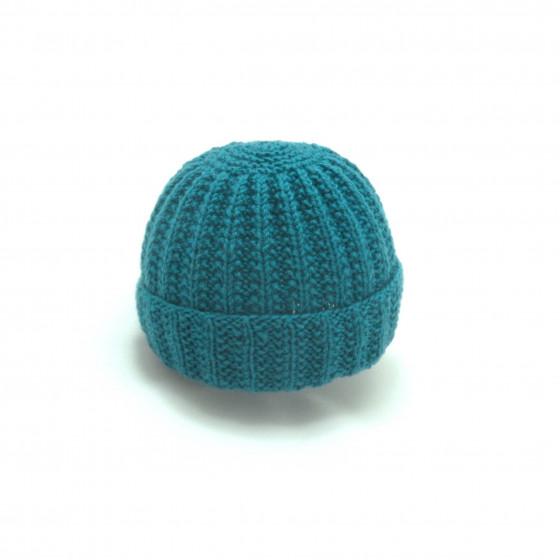 Bonnet rond bébé laine bleu canard