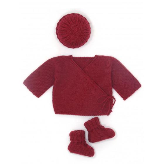Ensemble Brassière laine rouge basque