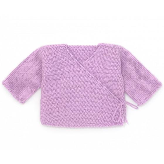 Brassière cache-coeur bébé laine parme