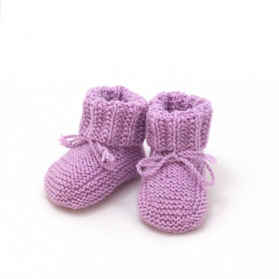 Chaussons bébé parme laine mérinos