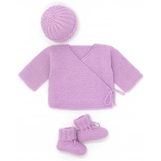 Ensemble Brassière bébé laine parme