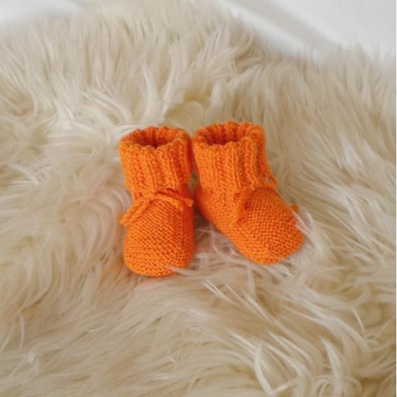 Chaussons bébé vert laine mérinos
