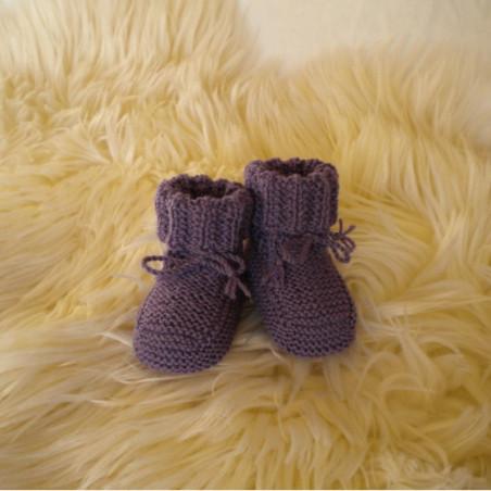 Chaussons bébé violets laine mérinos