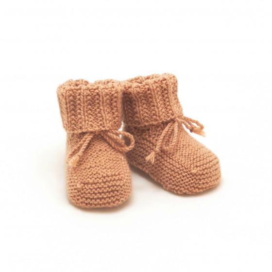 Chaussons bébé camel laine naturelle