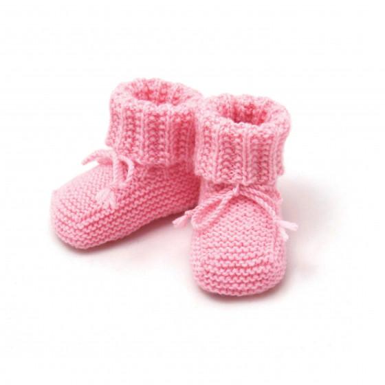 Chaussons bébé rose laine mérinos