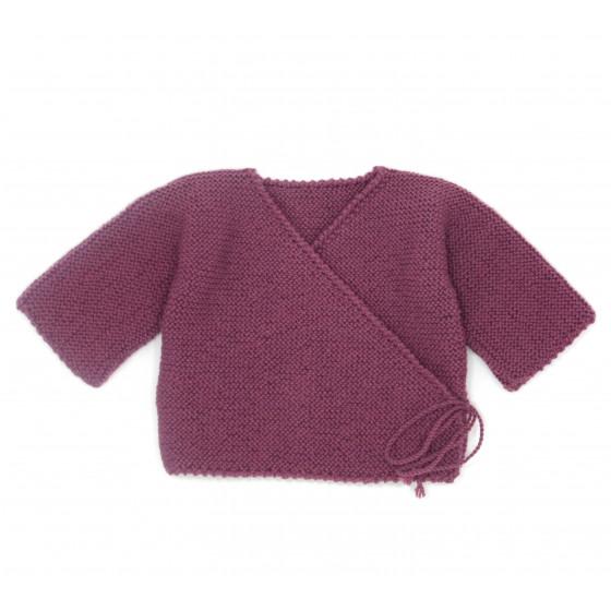 Brassière bébé prune laine naturelle