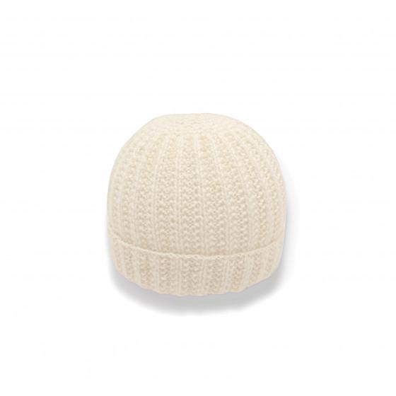 Bonnet rond bébé laine blanc