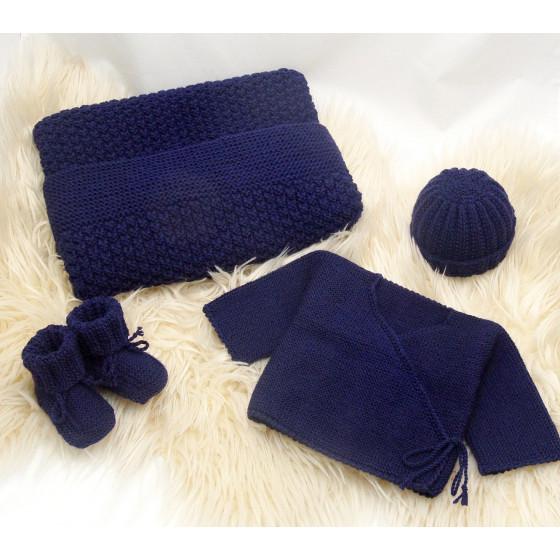 Trousseau de naissance laine Marine