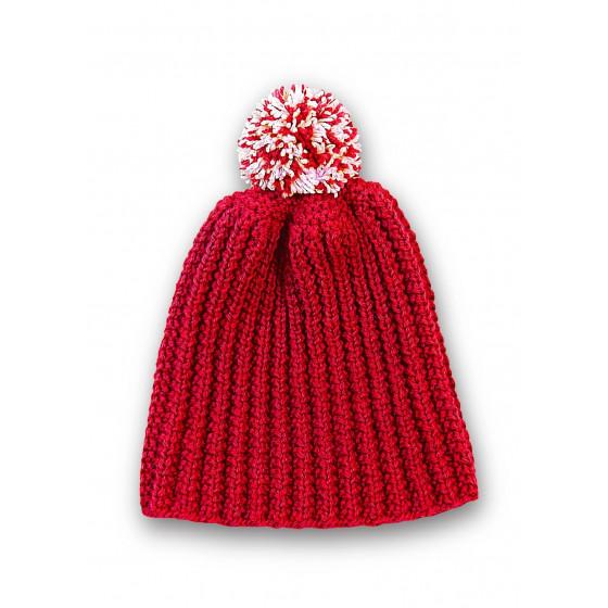 Bonnet rouge à pompon chiné ivoire