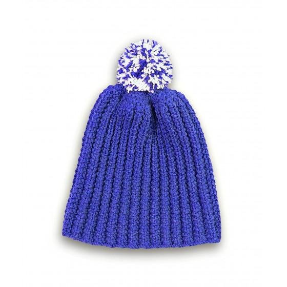 Bonnet bleu de France à pompon chiné ivoire
