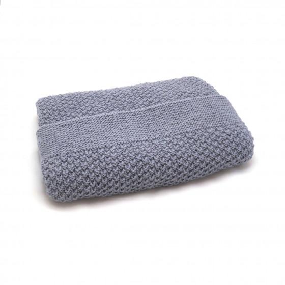 Couverture bébé laine gris souris