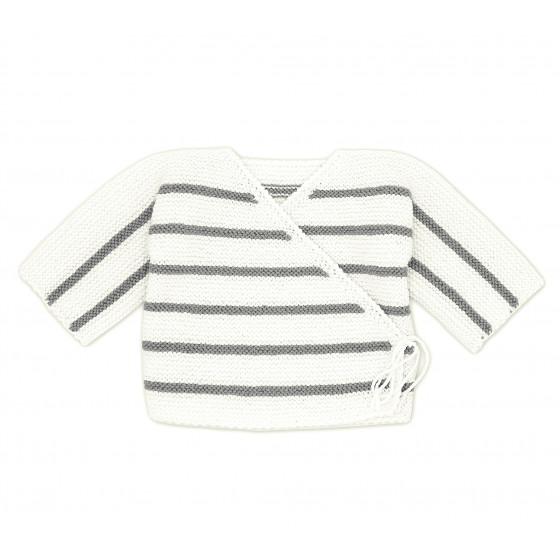 Brassière bébé laine blanc / gris souris