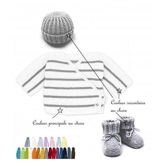 Ensemble Brassière bébé Marin laine bi-color au choix