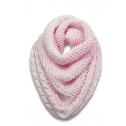 Châle Snood triangle rose poudre