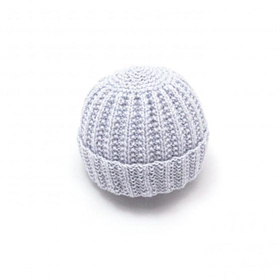 Bonnet rond bébé laine gris clair
