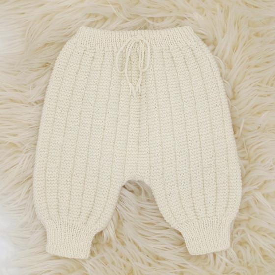 Pantalon Sarouel écru laine naturelle