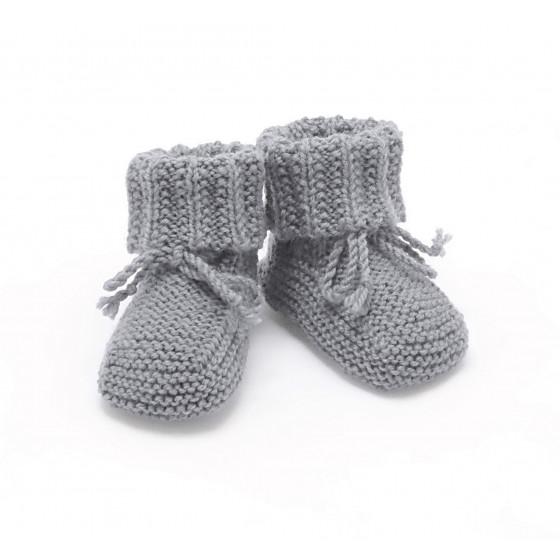 Chaussons bébé souris laine mérinos