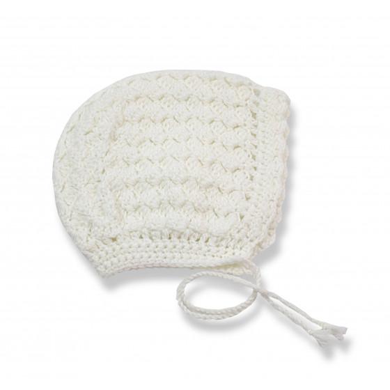 Bonnet béguin dentelle laine blanc