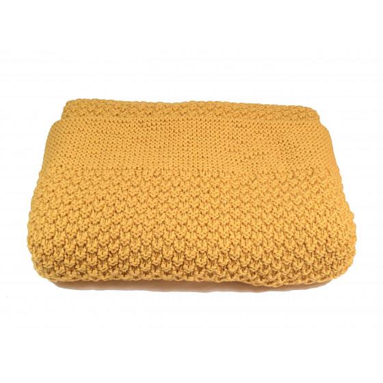 Couverture bébé laine moutarde