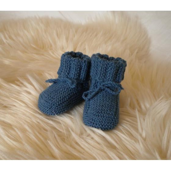 Chaussons bébé bleu indigo laine naturelle