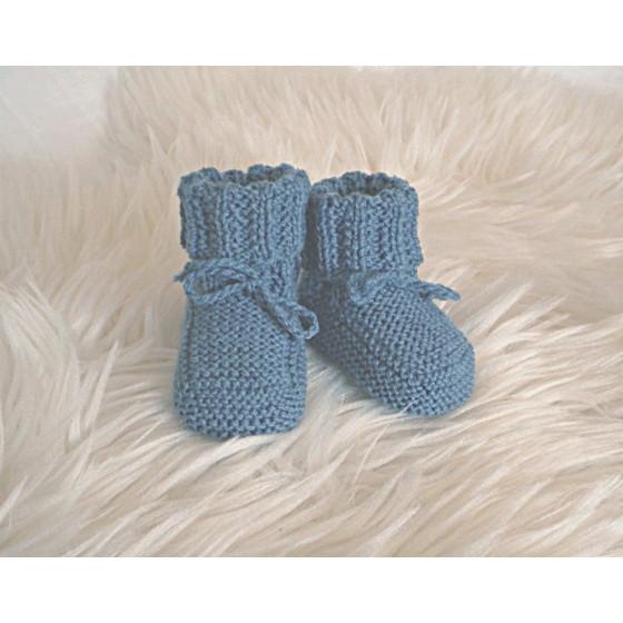 Chaussons bébé bleu jean laine naturelle