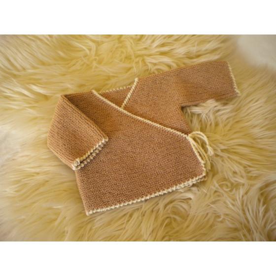 Brassière bébé laine écrue bi-color