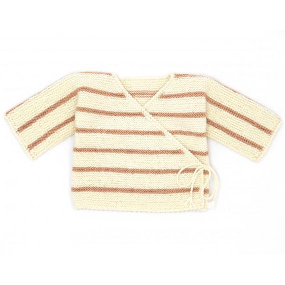 Brassière bébé laine marin écrue