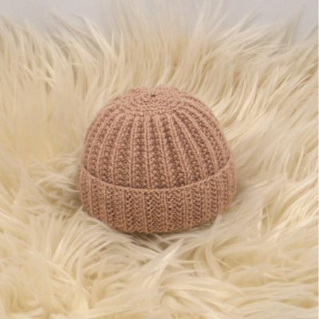 Bonnet rond bébé camel laine naturelle