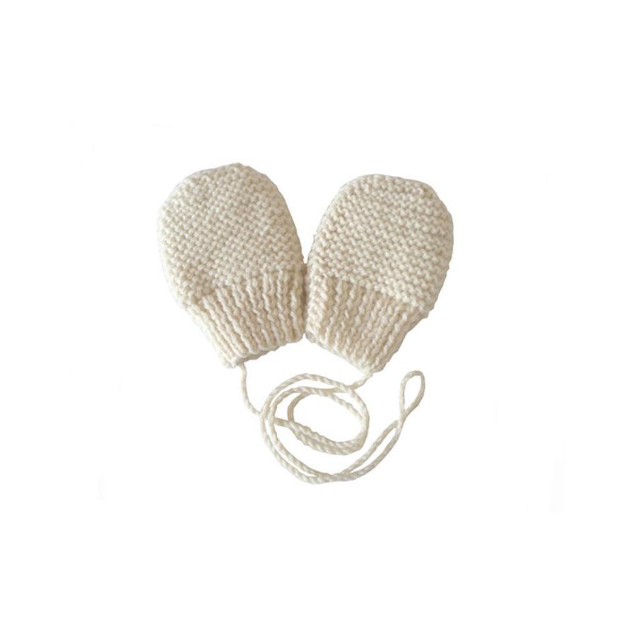 Moufles bébé écru laine naturelle