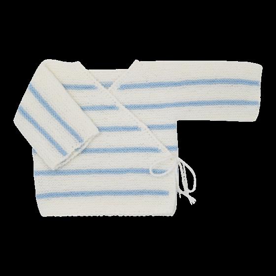 Brassière bébé laine blanc / bleu ciel