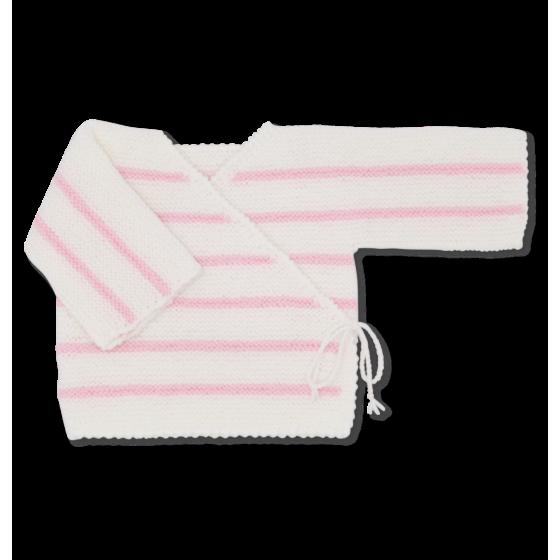 Brassière bébé laine blanc / rose