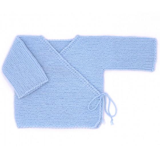 Brassière bébé laine bleu ciel