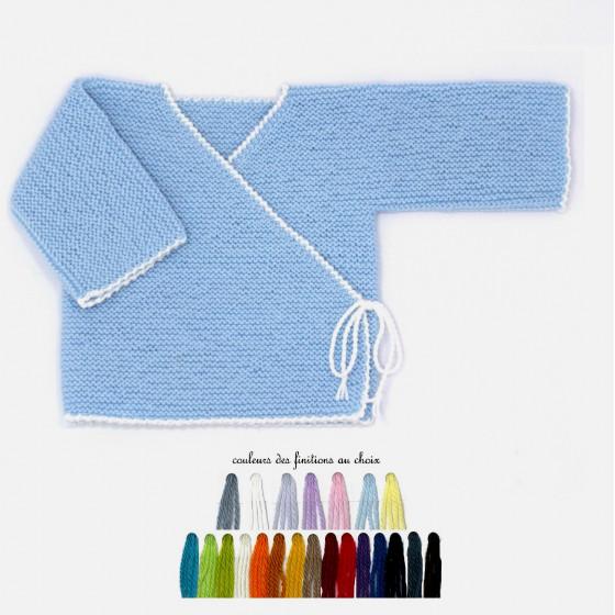 Brassière bébé laine bleu ciel bi-color