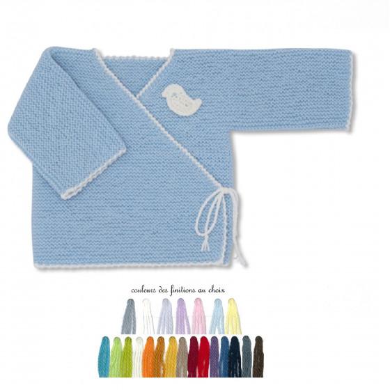 Brassière bébé laine bleu ciel brodée